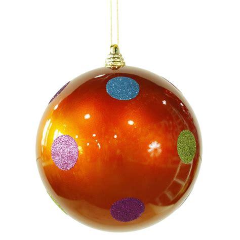 8 inch polka dot christmas ball ornament orange m120418