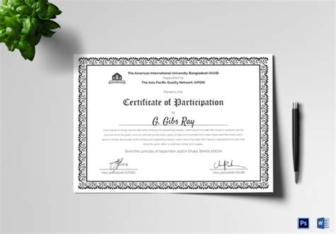 best printable certificate of participation images resume