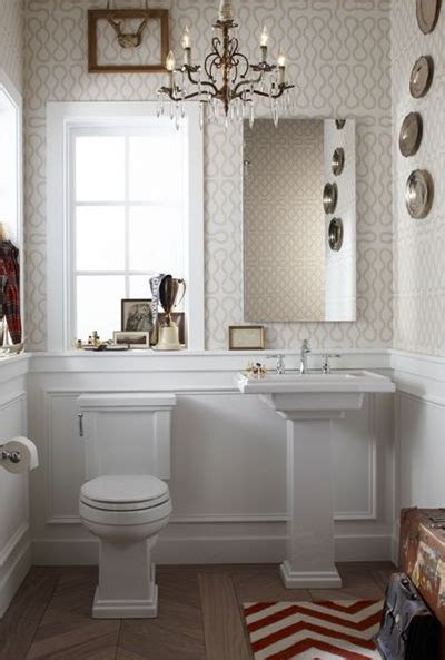 can i use wallpaper in a bathroom powder room wainscoting transitional bathroom