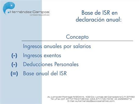calculo anual de isr de sueldos 2015 sueldos y salarios calculo del isr global pagos