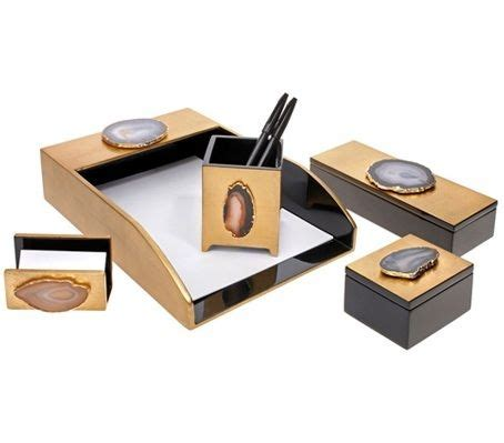 black and gold desk accessories gold agate black lacquer desk set courtesy of instyle