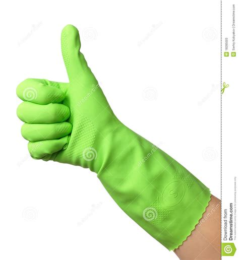 10 ways to show off your green thumb with cool diy hand wearing rubber glove shows thumb up sign stock image