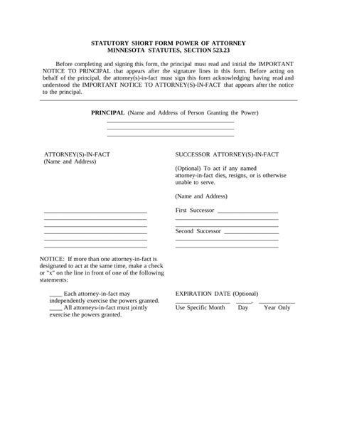 durable power of attorney form free minnesota durable financial power of attorney form