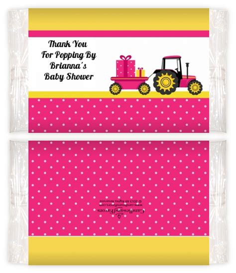 Baby Shower Popcorn Wrappers by Tractor Truck Pink Baby Shower Popcorn Wrappers Baby