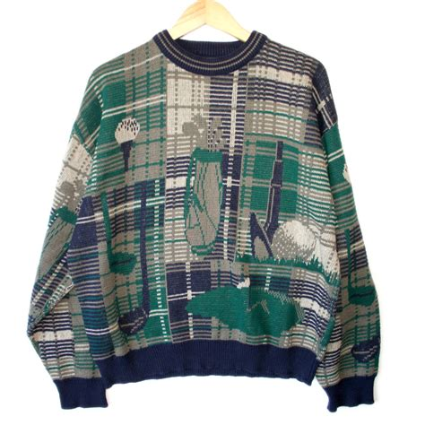 plaid sweater quot magic eye quot s plaid tacky golf sweater the sweater shop