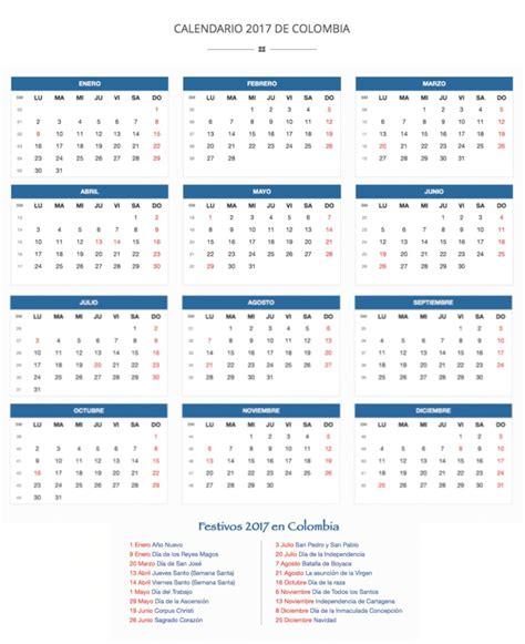 Calendario 2017 Colombia Con Festivos Y Semana Santa Calendario De Colombia 2017 Calendario De Colombia