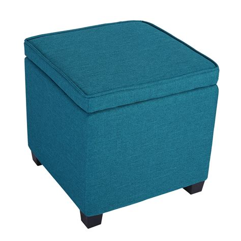 Storage Ottoman Seat Langria Square Storage Ottoman Seat Chair Foot Rest Stool Linen Upholstered Blue Ebay