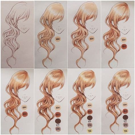 Hair Style Gel Name Colors by Coloring Hair With Copics Tools Used Are Copic Multiliner