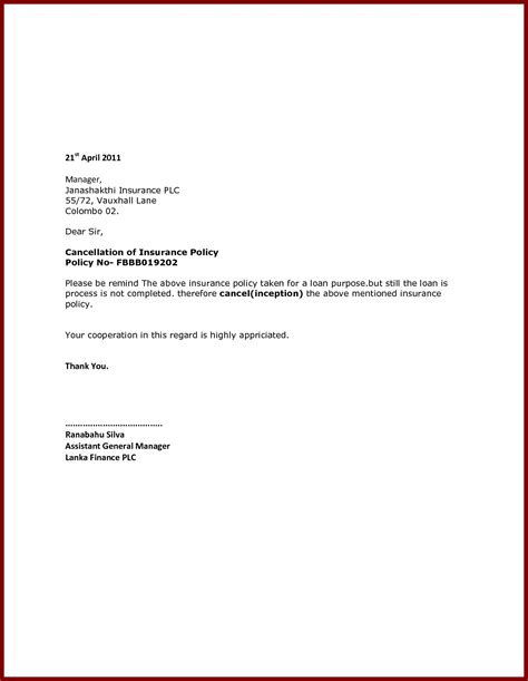 Car Insurance Cancellation Letter Template Exles Letter Cover Templates Insurance Policy Cancellation Letter Template