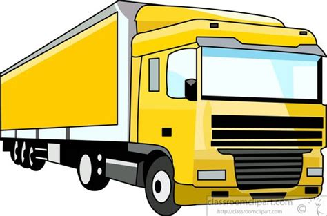 trucks clipart truck clipart yellow semi trailer truck clipart 090855