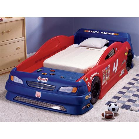 step 2 race car bed step 2 stock car convertible bed 172380 kid s furniture