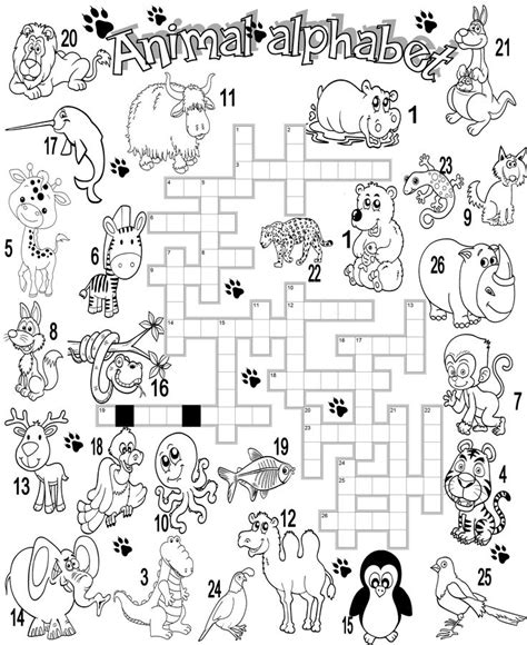 printable crossword puzzle animals wild animal crossword work crafts pinterest animals