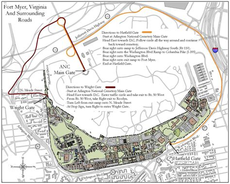 arlington national cemetery map map and directions from arlingto