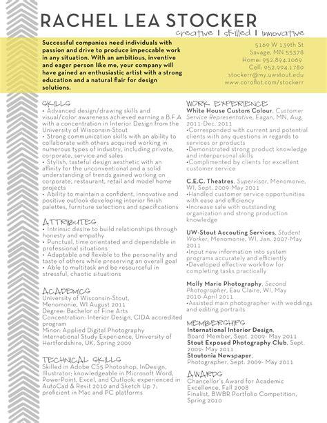 Stocker Resume by Resume By Stocker At Coroflot