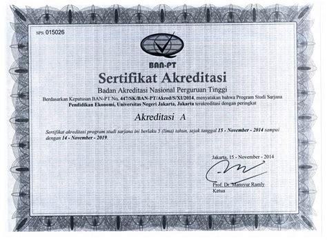 Surat Akreditasi Ban Pt by Sertifikat Ban Pt Program Studi Fakultas Ekonomi