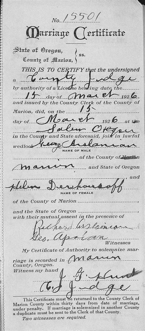 Marion County Oregon Marriage Records Marriage Record Of Kevork Quot George Quot Arslanian 212 To Helen Derhousoff 15 March 1926