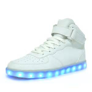 led light white high cut sport shoes glow sneakers running