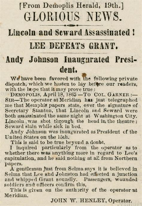 what the newspapers said when lincoln was killed history