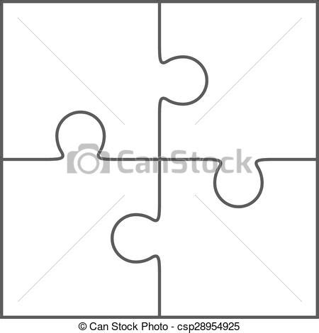 2x2 lined card template portraits vector illustration of jigsaw puzzle blank vector 2x2
