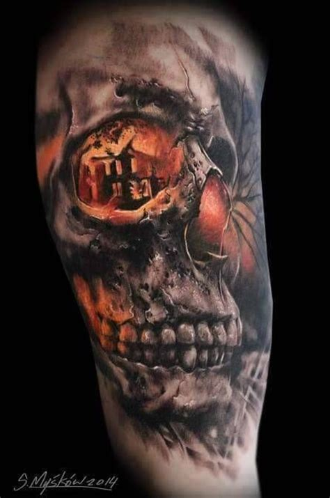3d skull tattoo on bicep