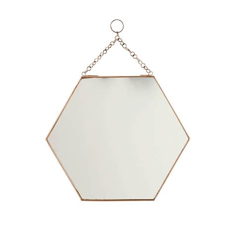 mirror shapes small hexagon shaped copper mirror by posh totty designs