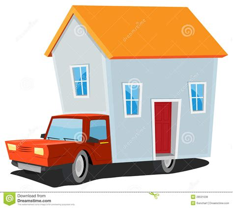tiny house delivered small house on delivery truck stock vector image 28531038