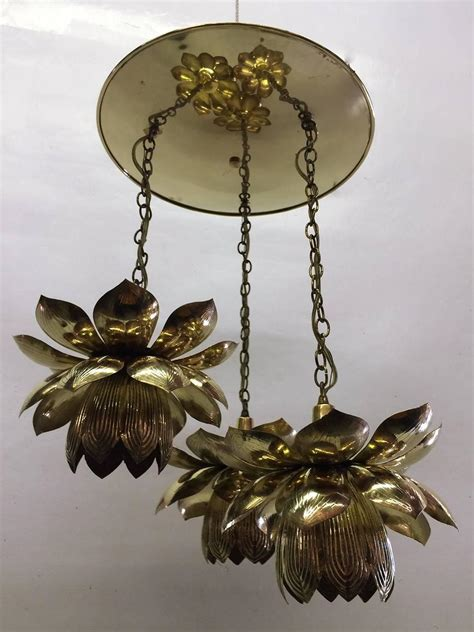 Lotus Pendant Light Three Pendant Light Lotus Brass Chandelier By Feldman At 1stdibs
