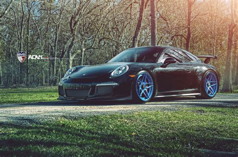 porsche 911 custom porsche 911 gt3 with bright blue adv 1 wheels gtspirit