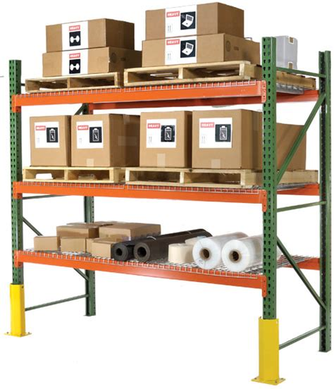 husky rack and wire pallet rack assembled shown with wire decks and column guards for