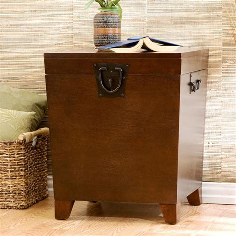 living room trunk amazon com sei espresso pyramid trunk end table end