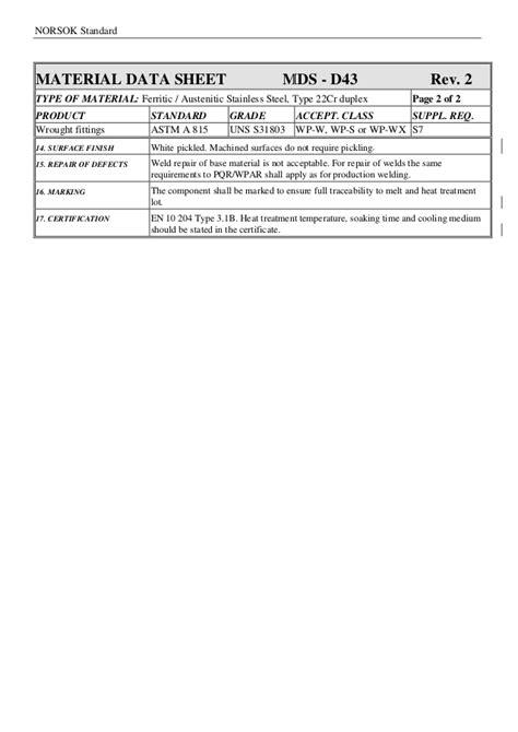 Material data sheet piping