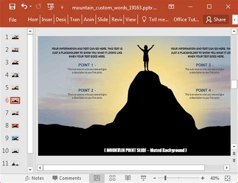 powerpoint layout verwenden animierte w 246 rter auf einem berg powerpoint vorlage