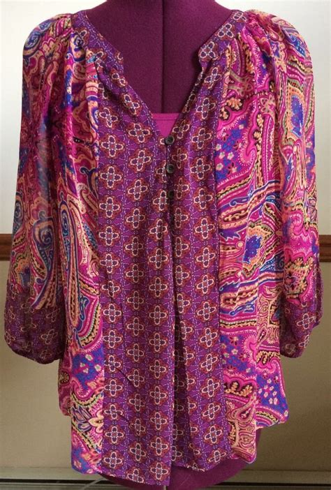 Flowery Tunic fig and flower boho peasant floral paisley tunic top