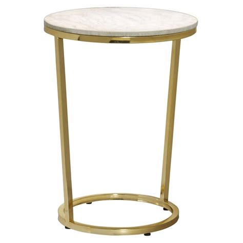 pulaski accent tables pulaski emory marble top round accent table in gold p020400