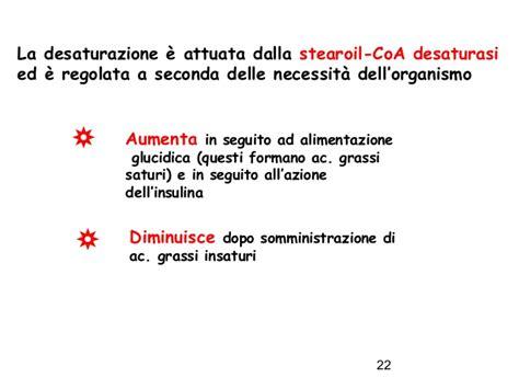 acidi grassi saturi e insaturi alimentazione biosintesi acidi grassi