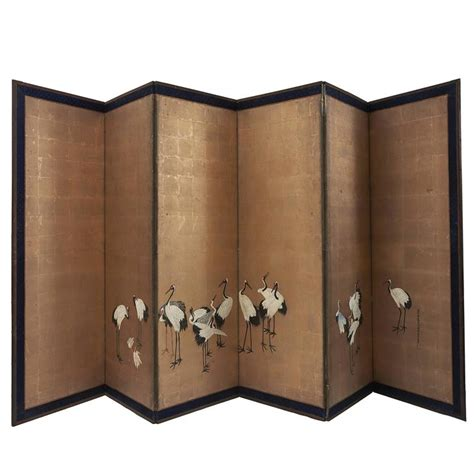 Paper Screens - japanese six panel paper screen on gold ground early 20th