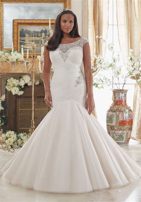 Wedding Plus Size Dresses by Dazzling Beaded Embroidery On Tulle Plus Size Wedding
