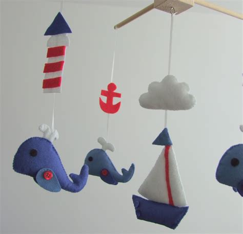 Nautical Crib Mobile by Baby Crib Mobile Navy Boats Whale Anchor Fish