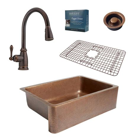 copper kitchen sink faucets sinkology pfister all in one 33 in farmhouse copper