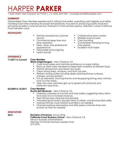 fast food industry resume sle best restaurant crew member resume exle livecareer