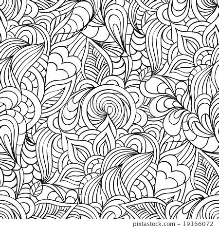 leaf pattern with lines pattern with abstract flowers leaves and lines stock