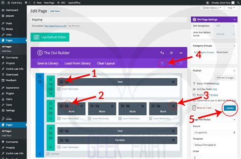 editing pages and posts with divi theme in wordpress