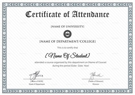 student certificate templates for word college students attendance certificate design template in
