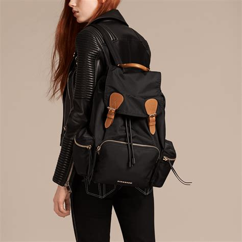 rucksack backpack the rucksack backpack in technical and leather black