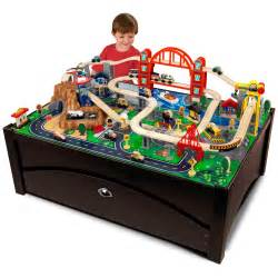 Train Set And Table For Toddlers - kidkraft metropolis train set table with trundle drawer