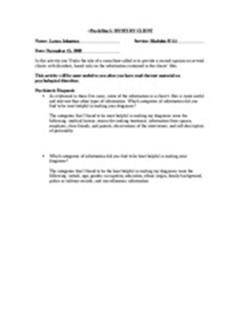 Psychsim 5 Mystery Therapist Worksheet Answers - Arsip.tembi.net