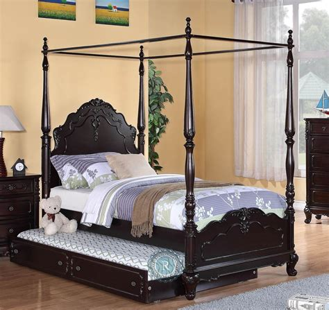 twin canopy beds cinderella dark cherry twin canopy poster bed from