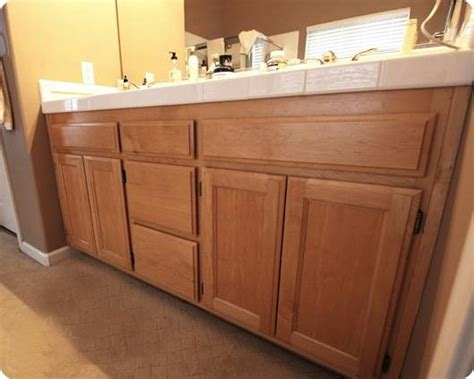 How To Paint Bathroom Vanity Cabinets Painted Oak Vanities Bungalow Home Staging Redesign