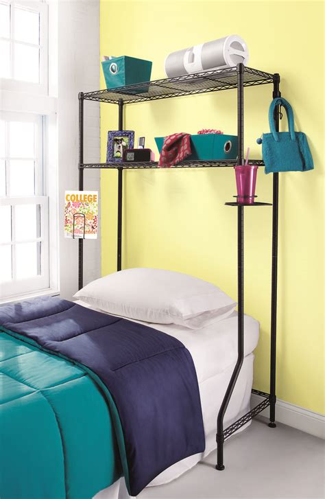 dorm bed shelf storage for over the bed desk or dresser creates storage