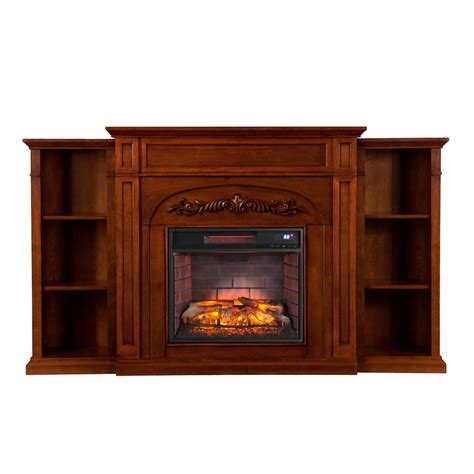 electric fireplace with bookcase southern enterprises rochester 48 in w faux stone